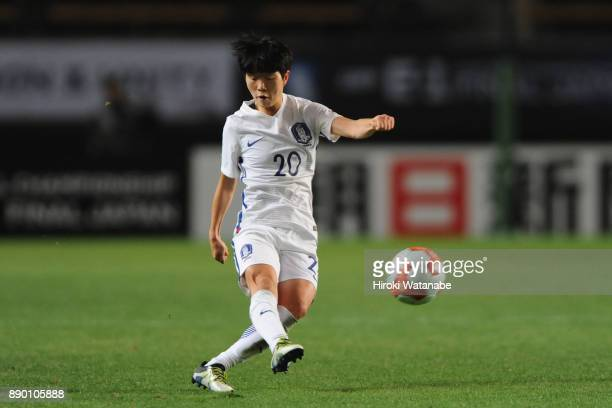 Kim Hyeri of South Korea in action during the EAFF E1 Women's Football Championship between North Korea and South Korea at Fukuda Denshi Arena on...