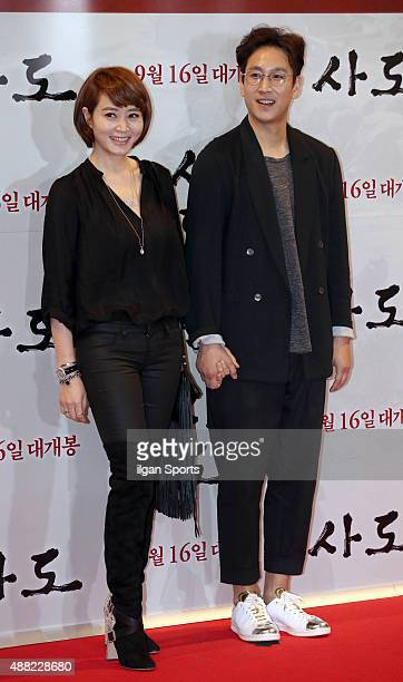 Kim HyeSoo and Lee SunKyun pose for photographs during the movie 'The Throne' VIP premiere at Megabox on September 8 2015 in Seoul South Korea