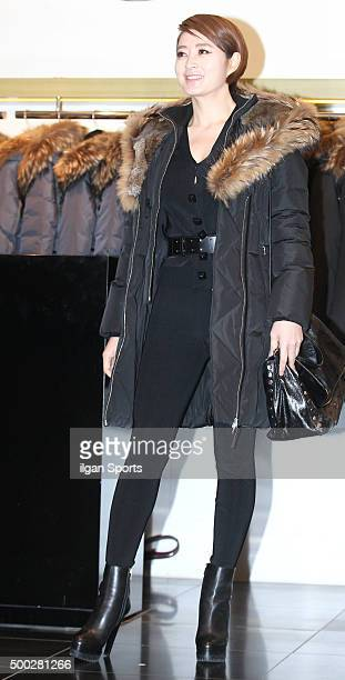 Kim Hyesoo attends the Mackage popup store opening event on November 16 2015 in Seoul South Korea