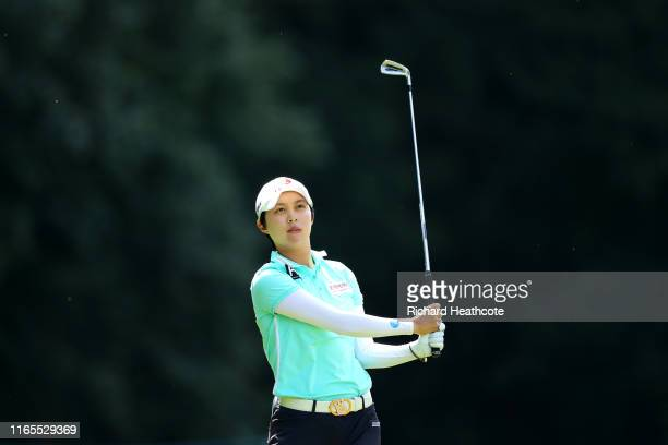 Kim Hyojoo of Korea plays her second shot on the third during Day One of the AIG Women's British Open at Woburn Golf Club on August 01 2019 in Woburn...