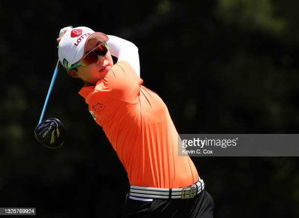 Kim Hyo-joo of South Korea plays her shot from the second tee during the final round of the KPMG Women's PGA Championship at Atlanta Athletic Club on...