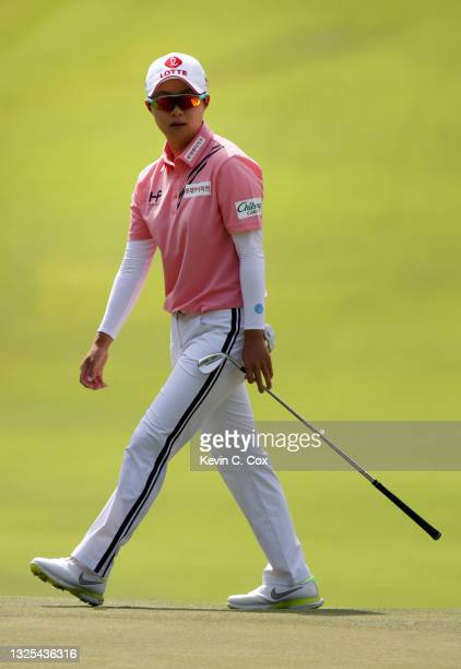 Kim Hyo-joo of South Korea walks onto the 14th hole during the second round of the KPMG Women's PGA Championship at Atlanta Athletic Club on June 25,...