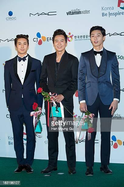 Kim HyungJun of South Korean boy band SS501 actors Yeon JungHoon and Park SeoJun arrive for APAN Star Road during the 18th Busan International Film...