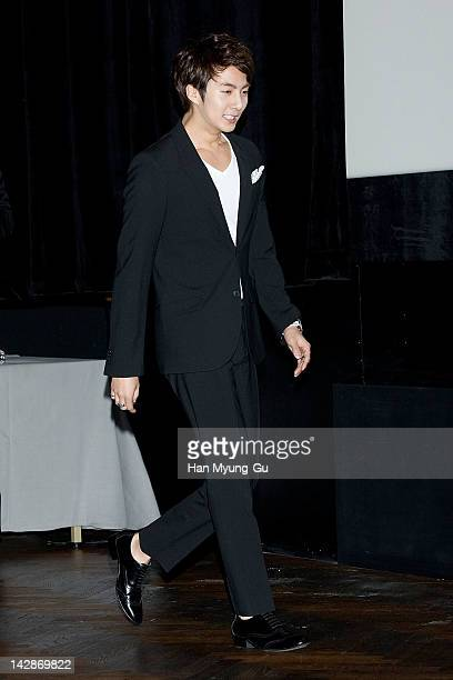 Kim HyungJun of SS501 attends a press conference to promote SBS drama 'I Love You' at CGV on April 13 2012 in Seoul South Korea The drama will open...