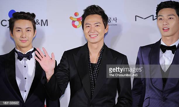 Kim HyungJun Yeon JungHoon and Park SeoJun arrive for APAN Star Road during the 18th Busan International Film Festival at the Haeundae Beach BIFF...