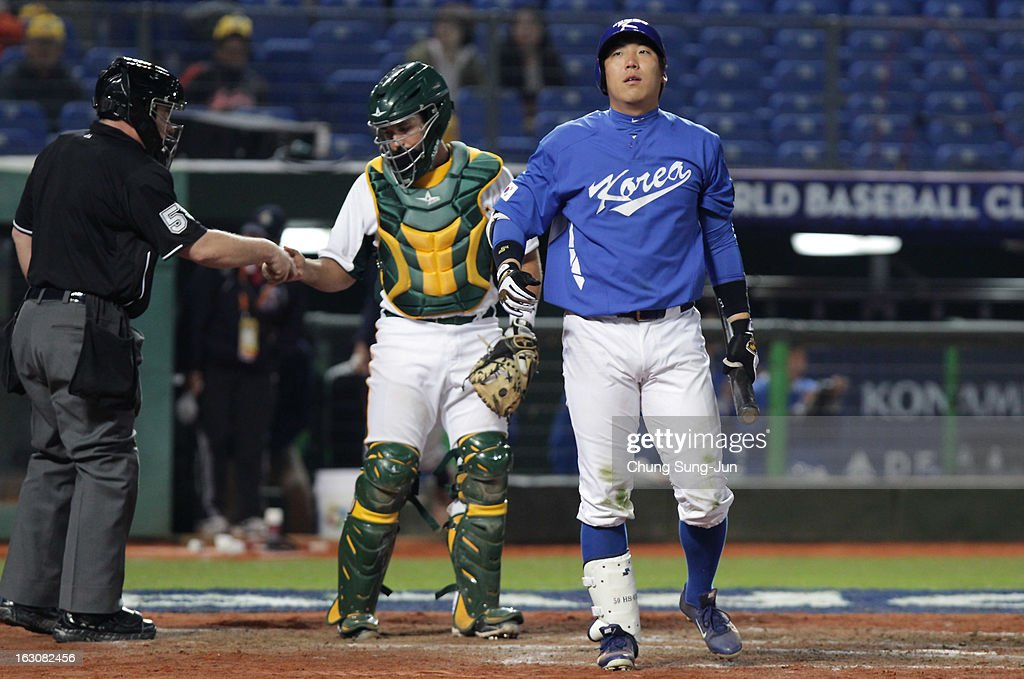 Kim Hyun-Soo of South Korea reacts in the seventh inning during the World Baseball Classic First Round Group B match between South Korea and Australia at Intercontinental Baseball Stadium on March 4, 2013 in Taichung, Taiwan.