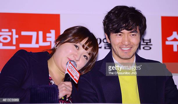 Kim HyunSook and Lee JinUk attend the movie 'Miss Granny' press conference at Wangsimni CGV on January 6 2014 in Seoul South Korea