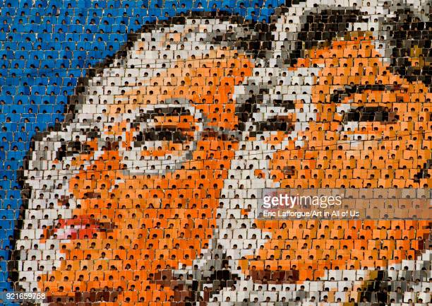 Kim il Sung and his wife made by children pixels holding up colored boards during Arirang mass games in may day stadium Pyongan Province Pyongyang...