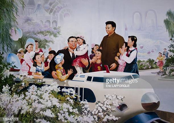 Kim Il Sung and Kim Jong Il in North Korea on May 20 2009