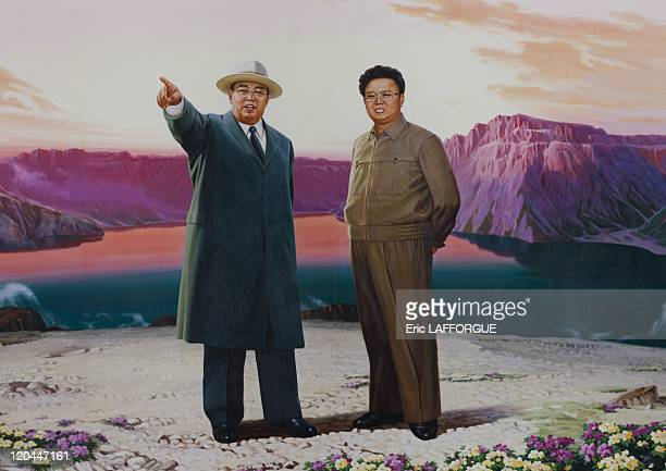 Kim Il Sung and Kim Jong Il's poster in Pyongyang North Korea on April 16 2008
