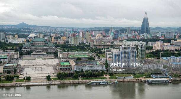 Kim Ilsung Square and the Grand Peoples' Study House and the 330 metretall Ryugyong Hotel Pyongyang's tallest building are pictured from the viewing...