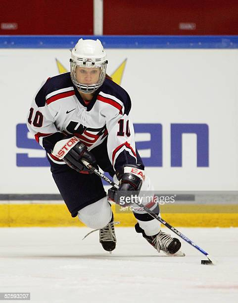 Kim Insalaco of team USA handles the puck against team Germany in a IIHF World Women's Championships preliminary game at the Cloetta Center on April...