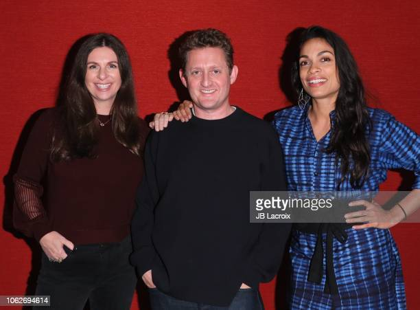 Kim Jackson Rosario Dawson and Alex Winter attend a photo call for 'Trust Machine The Story Of Blockchain' on November 16 2018 in Los Angeles...