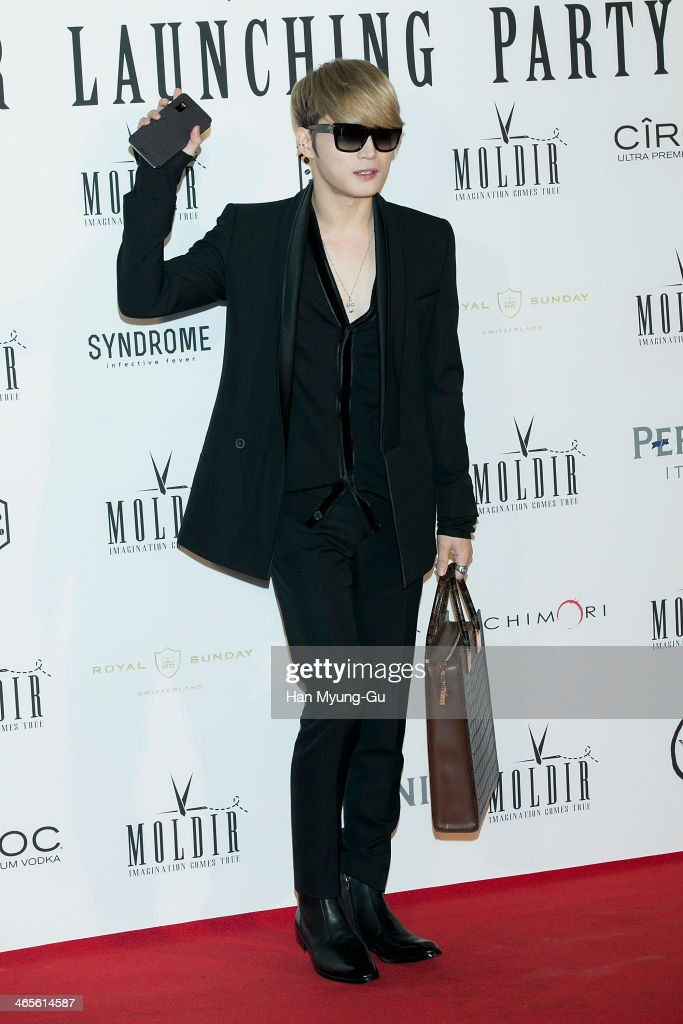 Kim Jae-Joong of South Korean boy band JYJ attends the Moldir Launching Party on January 24, 2014 in Seoul, South Korea.