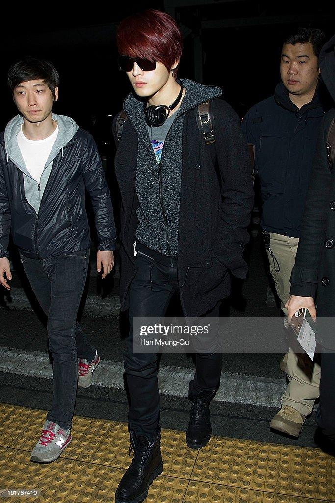 Kim Jae-Joong of South Korean boy band JYJ is seen at Incheon International Airport on February 15, 2013 in Incheon, South Korea.