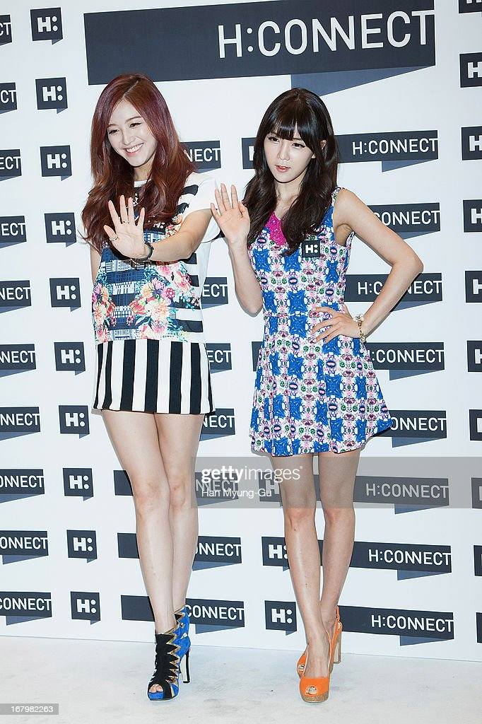Kim Jae-Kyung and Cho Hyun-Young of South Korean girl group Rainbow attend a promotional event for the 'H:Connect' Gangnam Flagship Store Opening on May 3, 2013 in Seoul, South Korea.
