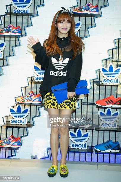 Kim JaeKyung of South Korean girl group Rainbow attends the store opening for 'Adidas Originals' flagship store on July 31 2014 in Seoul South Korea