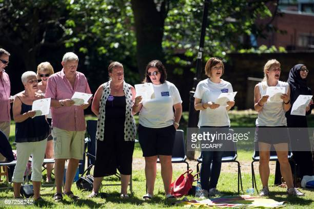 Kim Jean and Gordon Leadbeater the sister mother and father of murdered Member of Parliament Jo Cox attend a 'Great Get Together' community service...