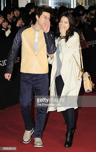 Kim JiHoon and Park ShinHye attend the 'GI Joe 2Retaliation' World Premiere Red Carpet at Times Square on March 11 2013 in Seoul South Korea