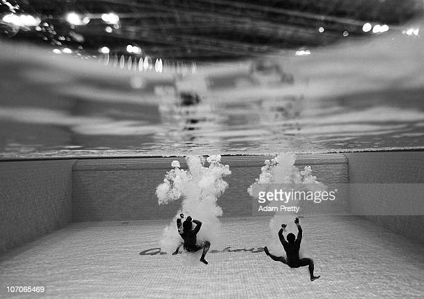 Kim Jin Yong and Oh Yitaek of Korea compete in the Mens Synchronised 10m Platform final at Aoti Aquatics Centre during day ten of the 16th Asian...