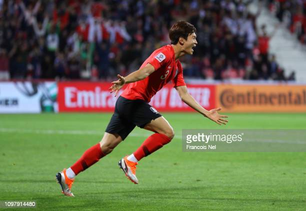 Kim JinSu of South Korea celebrates as he scores his team's second goal during the AFC Asian Cup round of 16 match between South Korea and Bahrain at...
