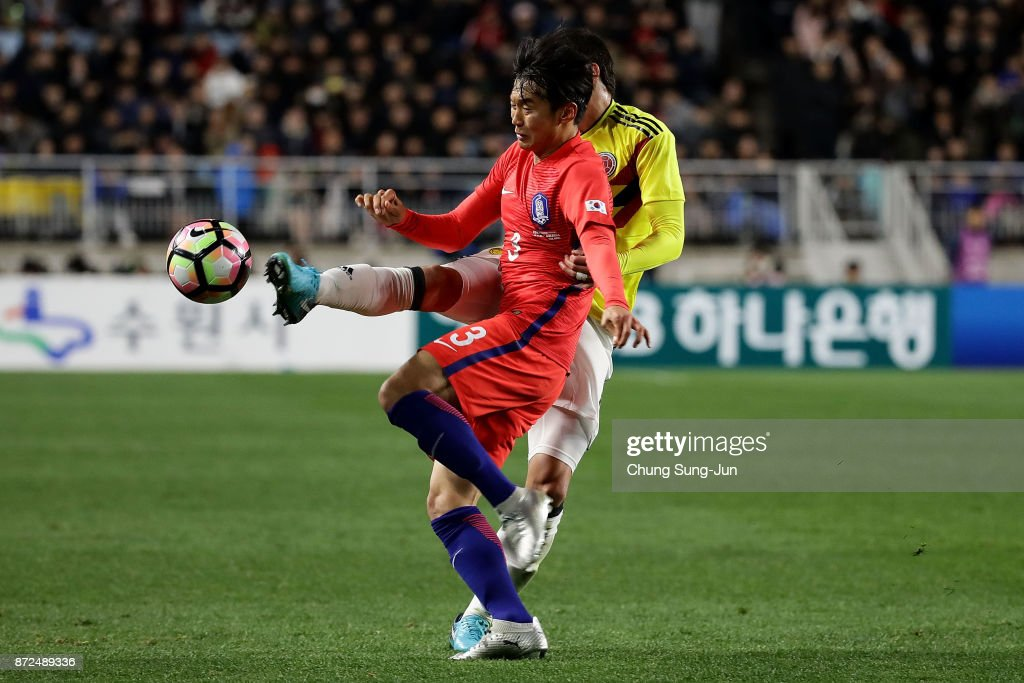 Kim Jin-Su of South Korea in action during the international friendly match between South Korea and Colombia at Suwon World Cup Stadium on November 10, 2017 in Suwon, South Korea.