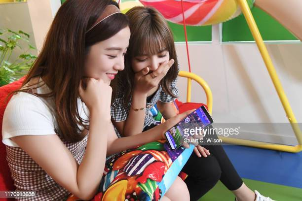 Kim Jisoo and Lalisa Manoban from BLACKPINK play Candy Crush Friends Saga at the King offices in Stockholm ahead of the launch of the new 'Hungry...