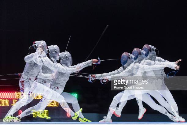 Kim Jiyeon and Seo Jiyeon of South Korea during the Asian Fencing Championships 2017 on June 15 2017 in Hong Kong Hong Kong