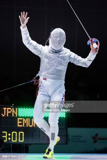 Kim Jiyeon of South Korea reacts during the Asian Fencing Championships 2017 on June 15 2017 in Hong Kong Hong Kong