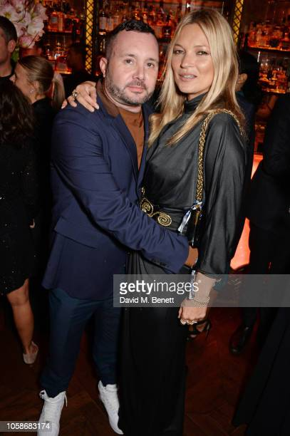 Kim Jones and Kate Moss attend the Annabel's Art Auction fundraiser in aid of Teenage Cancer Trust Teen Cancer America at Annabel's on November 7...