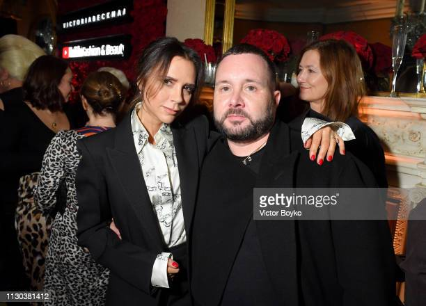 Kim Jones and Victoria Beckham attend the Victoria Beckham x YouTube Fashion Beauty After Party at London Fashion Week hosted by Derek Blasberg and...