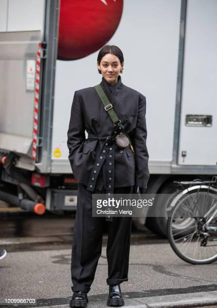 Kim Jones is seen wearing black jacket and pants outside Giambattista Valli during Paris Fashion Week - Womenswear Fall/Winter 2020/2021 : Day Eight...