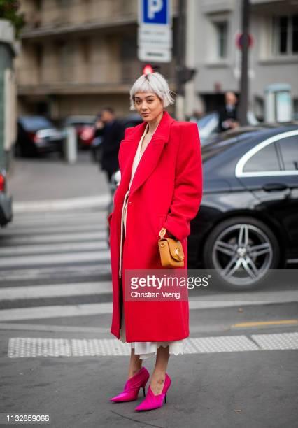 Kim Jones is seen wearing red coat bag outside Chloe during Paris Fashion Week Womenswear Fall/Winter 2019/2020 on February 28 2019 in Paris France