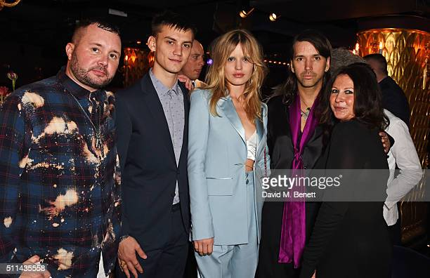 Kim Jones Josh Ludlow Georgia May Jagger Alister Mackie and Fran Cutler attend the Marc Jacobs Beauty dinner at the Club at Park Chinois on February...