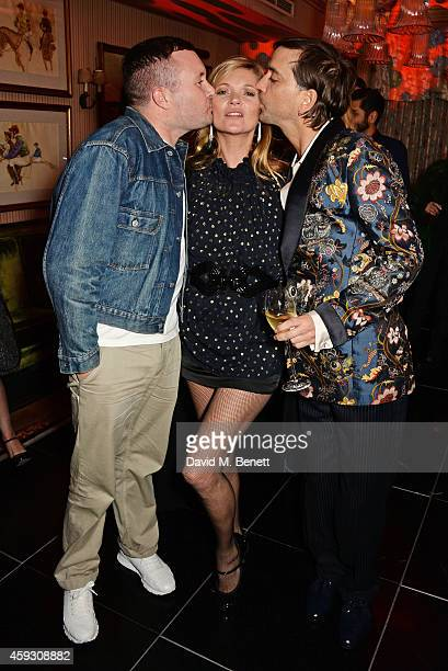 Kim Jones Kate Moss and Alister Mackie attend a party hosted by David Beckham and Alister Mackie to celebrate Another Man Magazine at Mark's Club on...