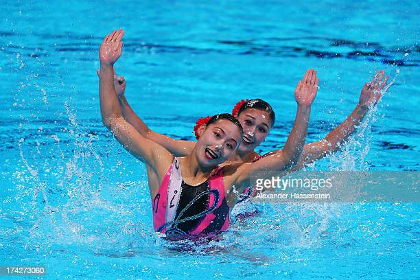 Kim Jong Hui and Ri Ji Hyang of North Korea compete in the Synchronized Swimming Duet preliminary round on day four of the 15th FINA World...