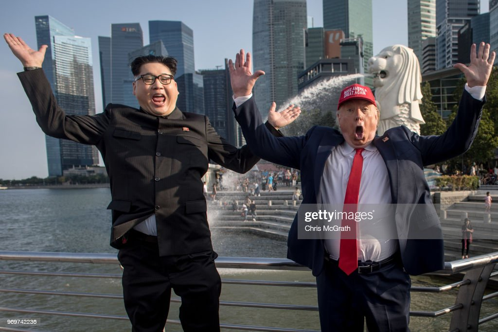 Singapore is getting prepared for the historic meeting between Donald Trump and Kim Jong Un tomorrow, but impersonators Howard X and Dennis Alan have already been introduced...