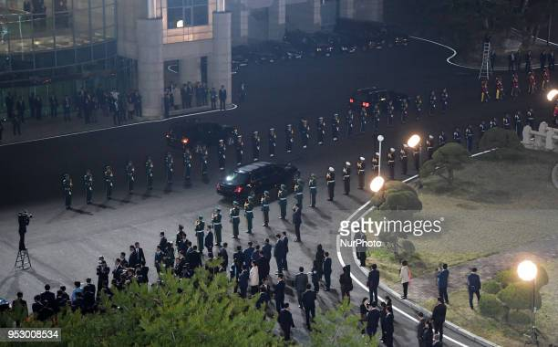 Kim Jong Un North Korea's leader departs in a limousine following the interKorean summit at the village of Panmunjom in the Demilitarized Zone in...