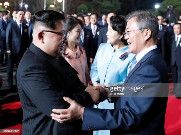 Kim Jong Un North Korea's leader Moon Jaein South Korea's president Ri Sol Ju North Korea's first lady and Kim Jungsook South Korea's first lady...