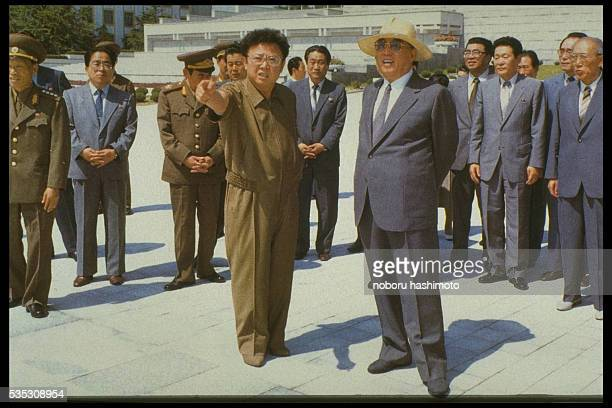 Kim Jong-il with his father Korean Eternal President of the Republic Kim Il-sung.