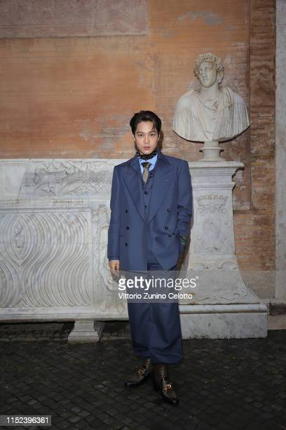 Kim Jong-In, known as Kai, arrives at the Gucci Cruise 2020 at Musei Capitolini on May 28, 2019 in Rome, Italy.
