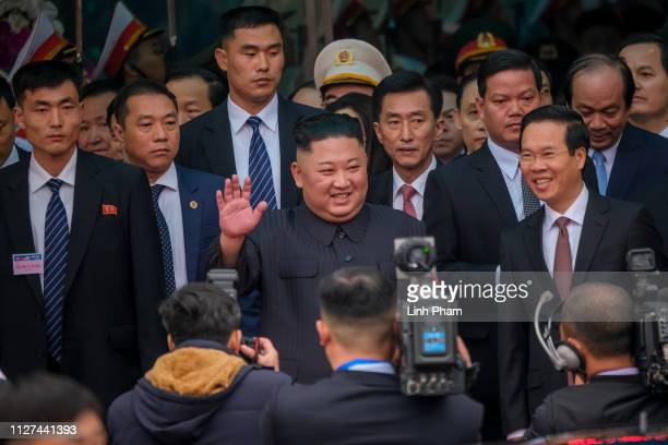 Kim Jongun arrives by train at Dong Dang railway station near the border with China on February 26 2019 in Lang Son Vietnam North Korea's leader Kim...