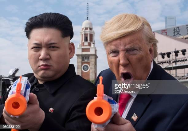Kim Jongun impersonator Howard and Donald Trump lookalike Dennis Alan seen together in Tsim Sha Tsui Hong Kong