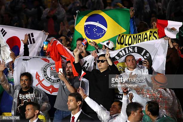 Kim Jong-un impersonator Howard attends the Closing Ceremony on Day 16 of the Rio 2016 Olympic Games at Maracana Stadium on August 21, 2016 in Rio de...