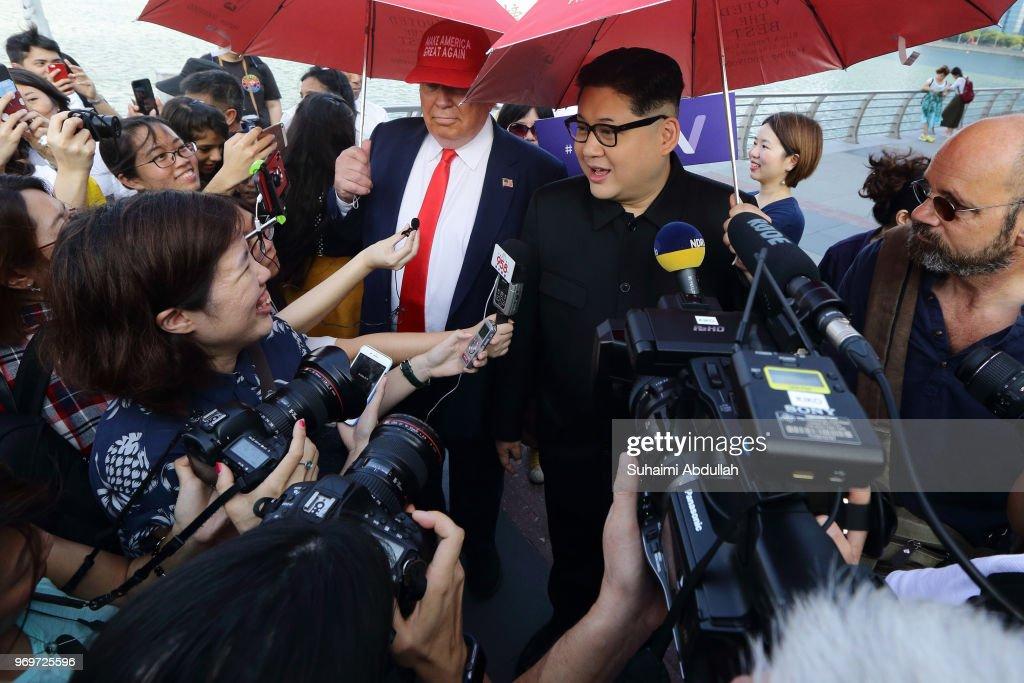 Kim Jong Un And Donald Trump Impersonators Make Appearance In Singapore : News Photo