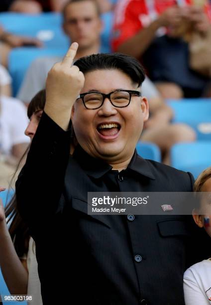 Kim Jongun's lookalike is seen prior to the 2018 FIFA World Cup Russia group A match between Uruguay and Russia at Samara Arena on June 25 2018 in...