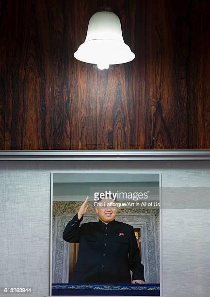 Kim jung un poster in an hotel wonsan North Korea on September 11 2012 in Wonsan North Korea