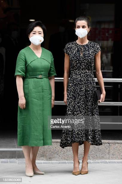 Kim Jung-Sook and Queen Letizia Of Spain arrive to the ONCE Foundation Headquarters on June 16, 2021 in Madrid, Spain.