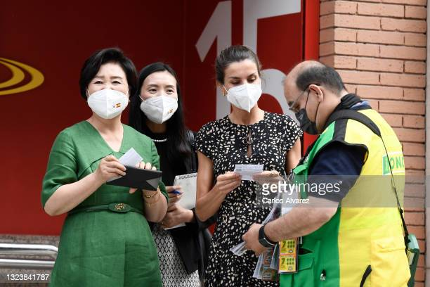 Kim Jung-Sook and Queen Letizia Of Spain buy ONCE charity lottery ticket in front of the ONCE Foundation Headquarters on June 16, 2021 in Madrid,...