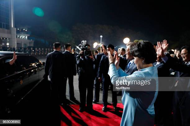 Kim Jungsook South Korea's first lady during InterKorean Summit 2018 in the Demilitarized Zone in Paju South Korea on Friday April 27 2018